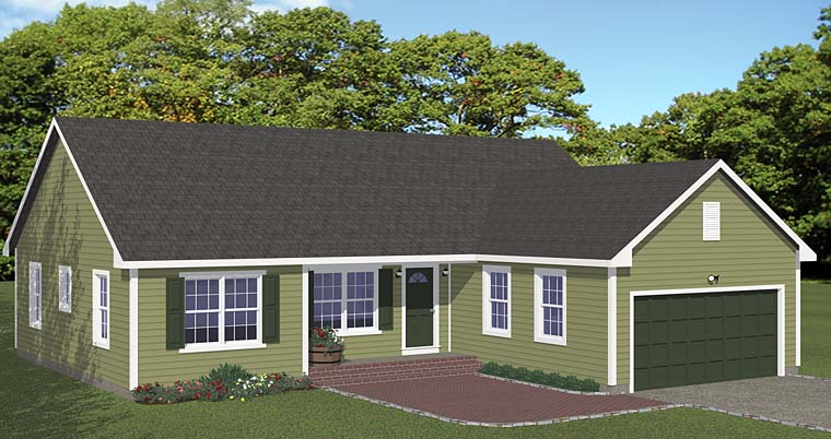 Ranch, Traditional House Plan 40677 with 3 Beds, 2 Baths, 2 Car Garage Elevation