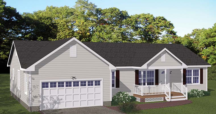 Country, Ranch House Plan 40682 with 3 Beds, 2 Baths, 2 Car Garage Elevation