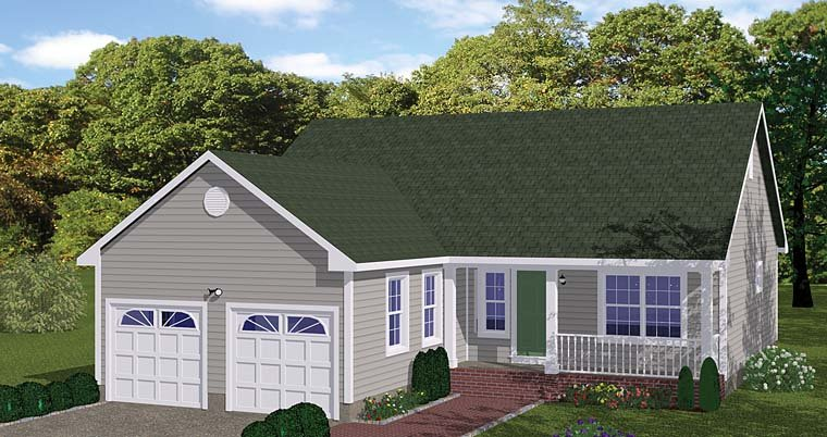 Ranch, Traditional House Plan 40685 with 3 Beds, 2 Baths, 2 Car Garage Front Elevation