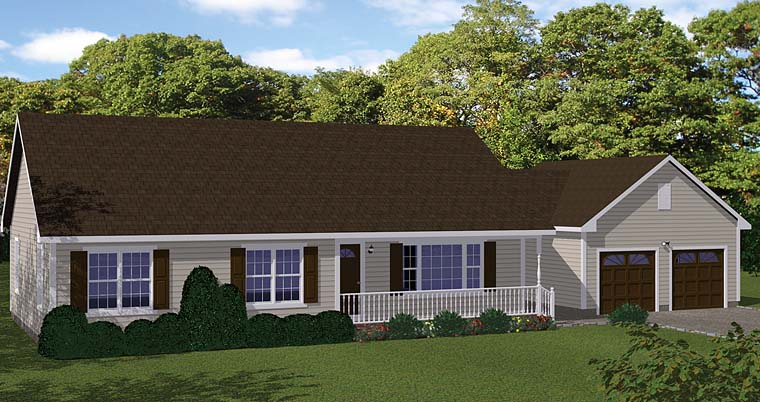 Country, Ranch, Traditional House Plan 40689 with 3 Beds, 1 Baths, 2 Car Garage Front Elevation