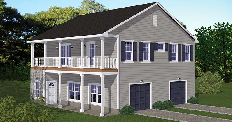 Garage-Living Plan 40693 with 2 Beds, 1 Baths, 2 Car Garage Elevation