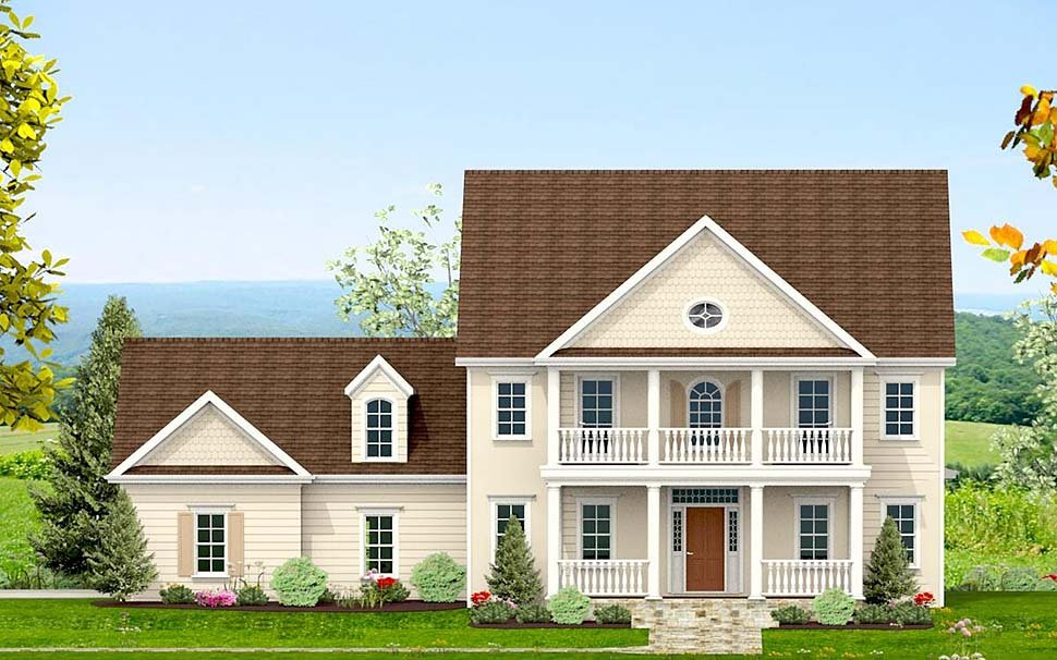 Colonial, Southern, Traditional House Plan 40704 with 3 Beds, 4 Baths, 2 Car Garage Front Elevation