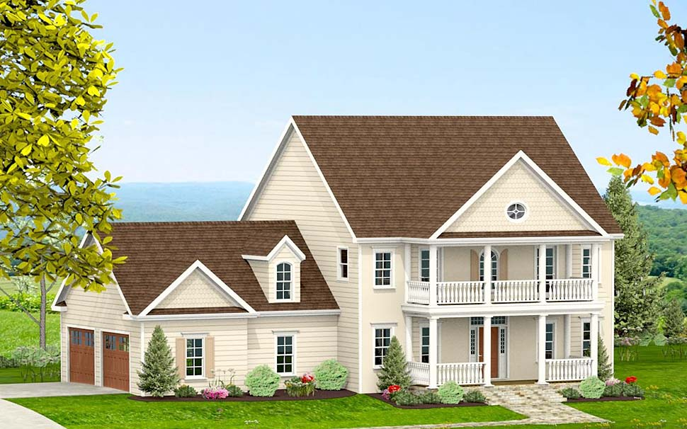 Colonial, Southern, Traditional House Plan 40704 with 3 Beds, 4 Baths, 2 Car Garage Picture 1