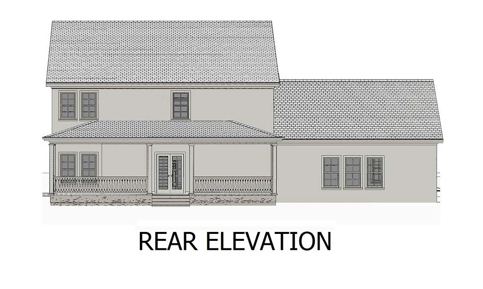 Colonial, Southern, Traditional House Plan 40704 with 3 Beds, 4 Baths, 2 Car Garage Rear Elevation