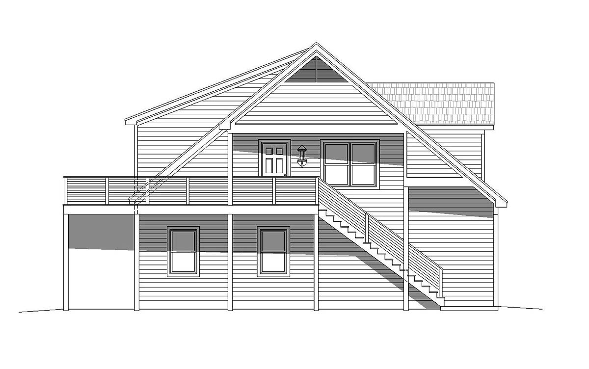 Country, Traditional 5 Car Garage Apartment Plan 40801 with 2 Beds, 3 Baths Picture 2