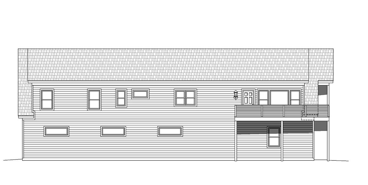 Country, Traditional 5 Car Garage Apartment Plan 40801 with 2 Beds, 3 Baths Rear Elevation