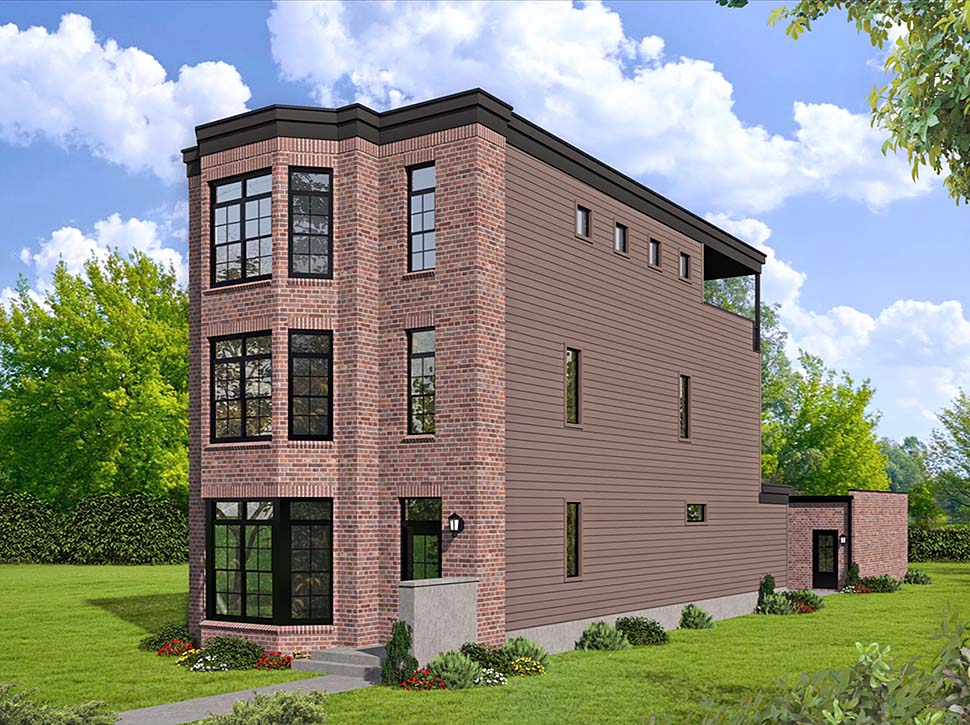Contemporary, European, Greek Revival, Modern House Plan 40808 with 3 Beds, 4 Baths Elevation
