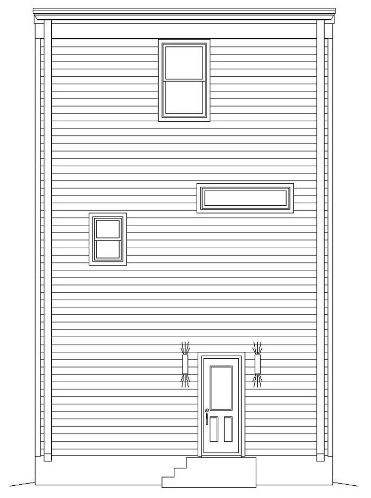Coastal, Contemporary, Modern 0 Car Garage Plan 40812 with 3 Beds, 4 Baths Rear Elevation