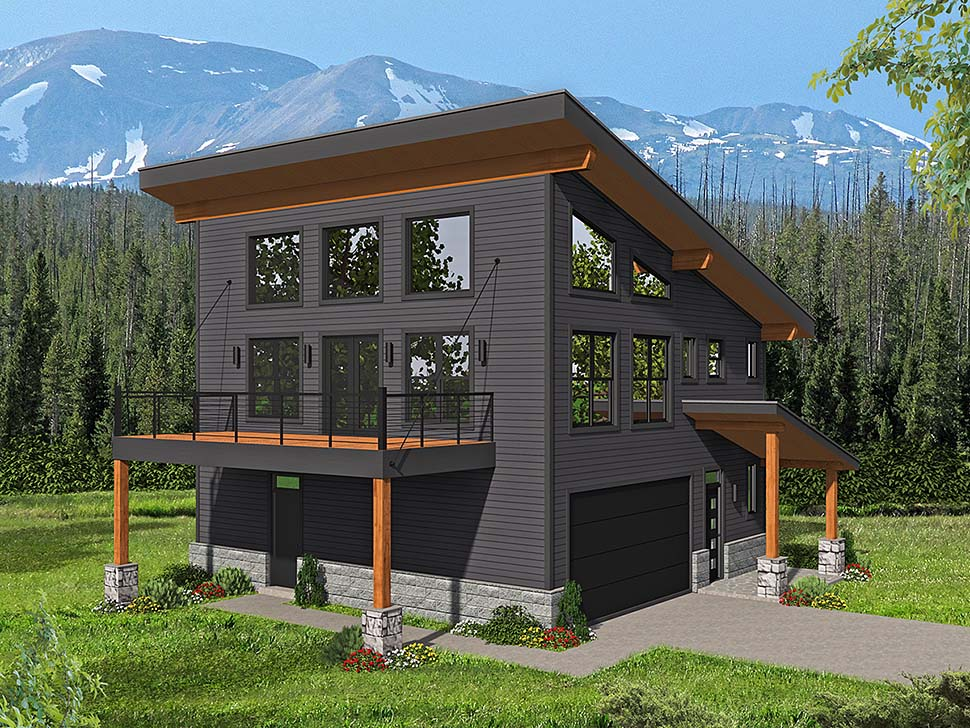 Contemporary, Modern House Plan 40816 with 3 Beds, 2 Baths, 1 Car Garage Front Elevation