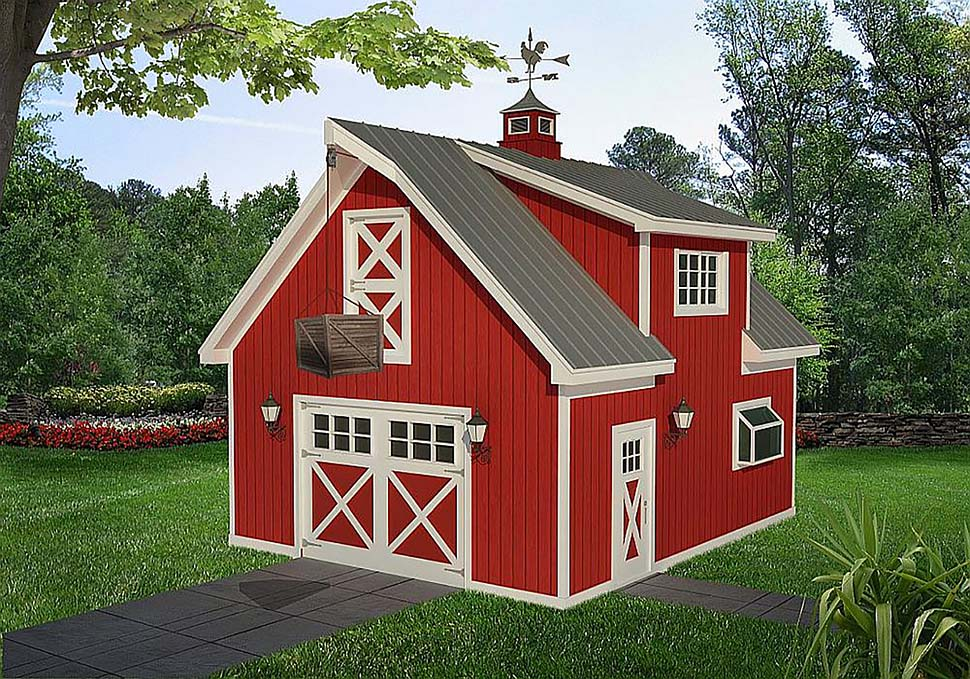Country, Farmhouse, Saltbox 1 Car Garage Plan 40818 Elevation