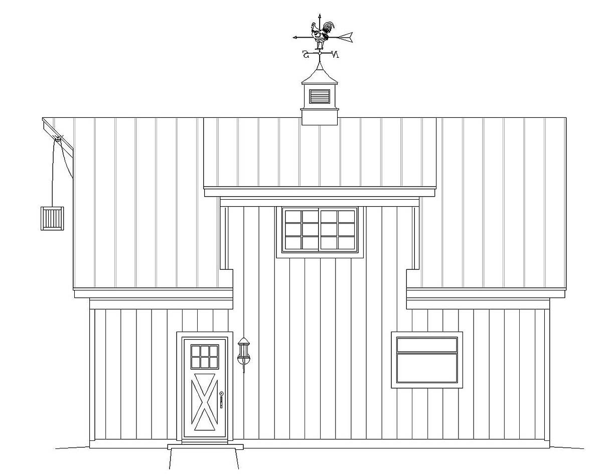 Country, Farmhouse, Saltbox 1 Car Garage Plan 40818 Picture 1