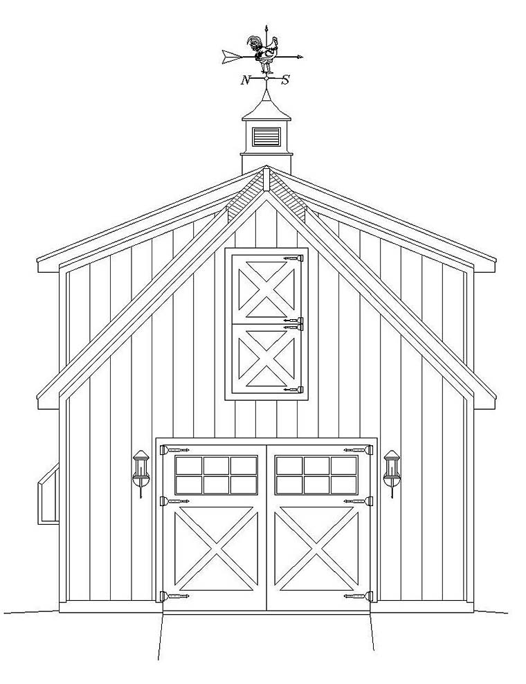 Country, Farmhouse, Saltbox 1 Car Garage Plan 40818 Rear Elevation