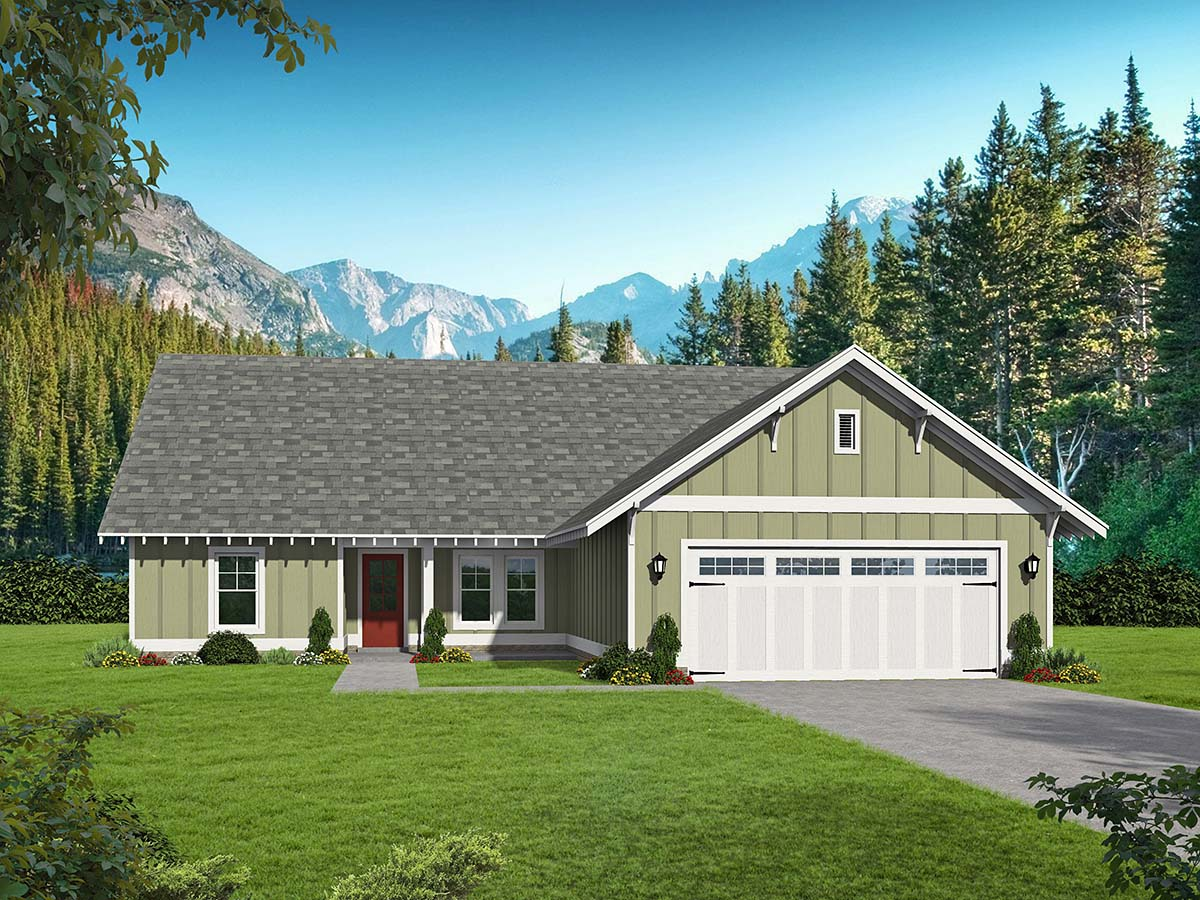Cottage, Craftsman, Ranch House Plan 40826 with 3 Beds, 3 Baths, 2 Car Garage Elevation