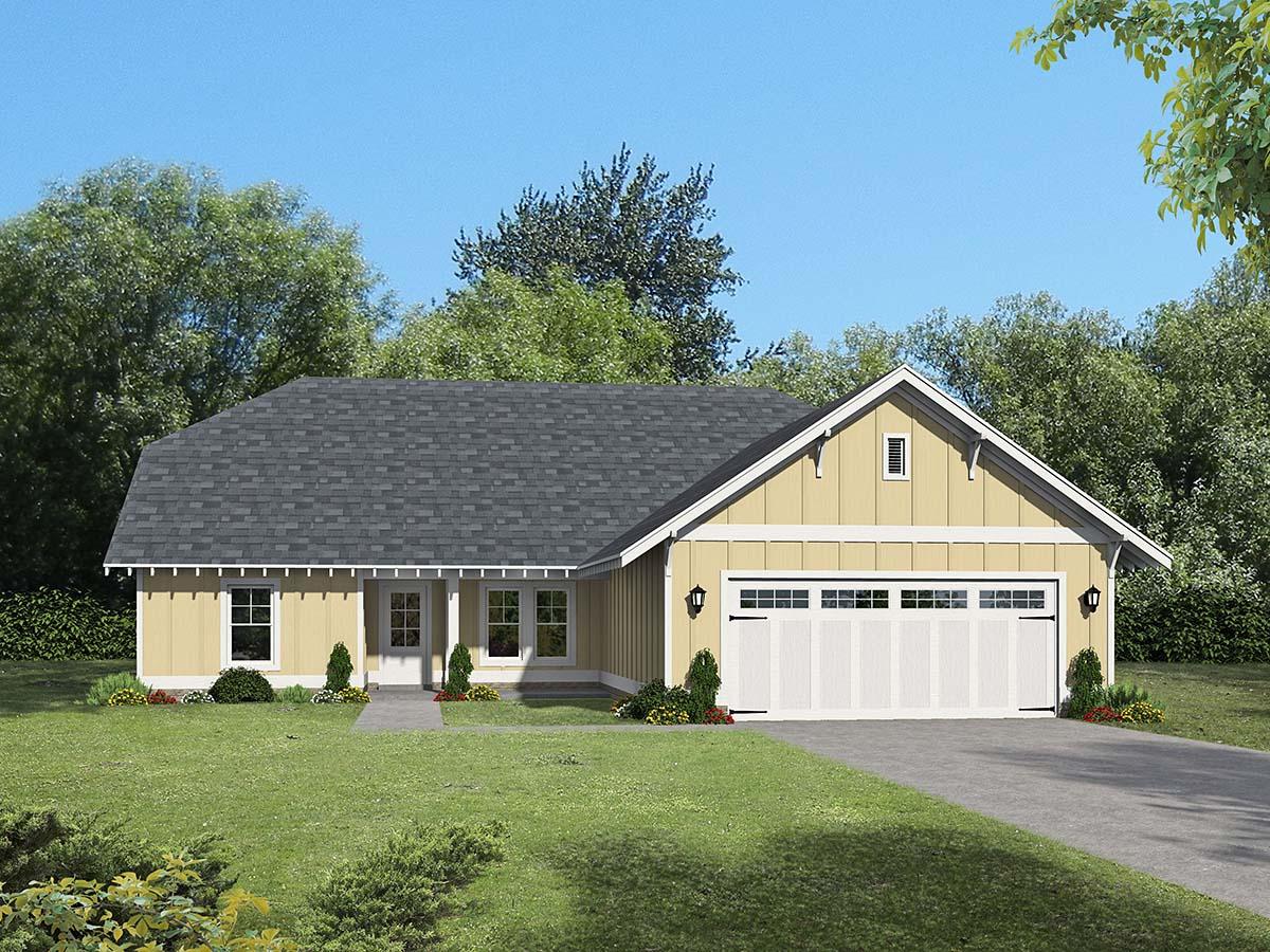 Cottage, Craftsman, Ranch House Plan 40827 with 3 Beds, 3 Baths, 2 Car Garage Elevation