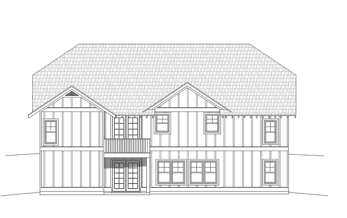 Cottage, Craftsman, Ranch House Plan 40827 with 3 Beds, 3 Baths, 2 Car Garage Rear Elevation