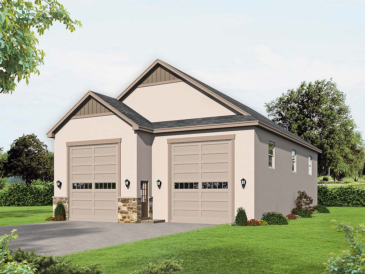 Country, European, French Country, Traditional 2 Car Garage Plan 40834, RV Storage Elevation