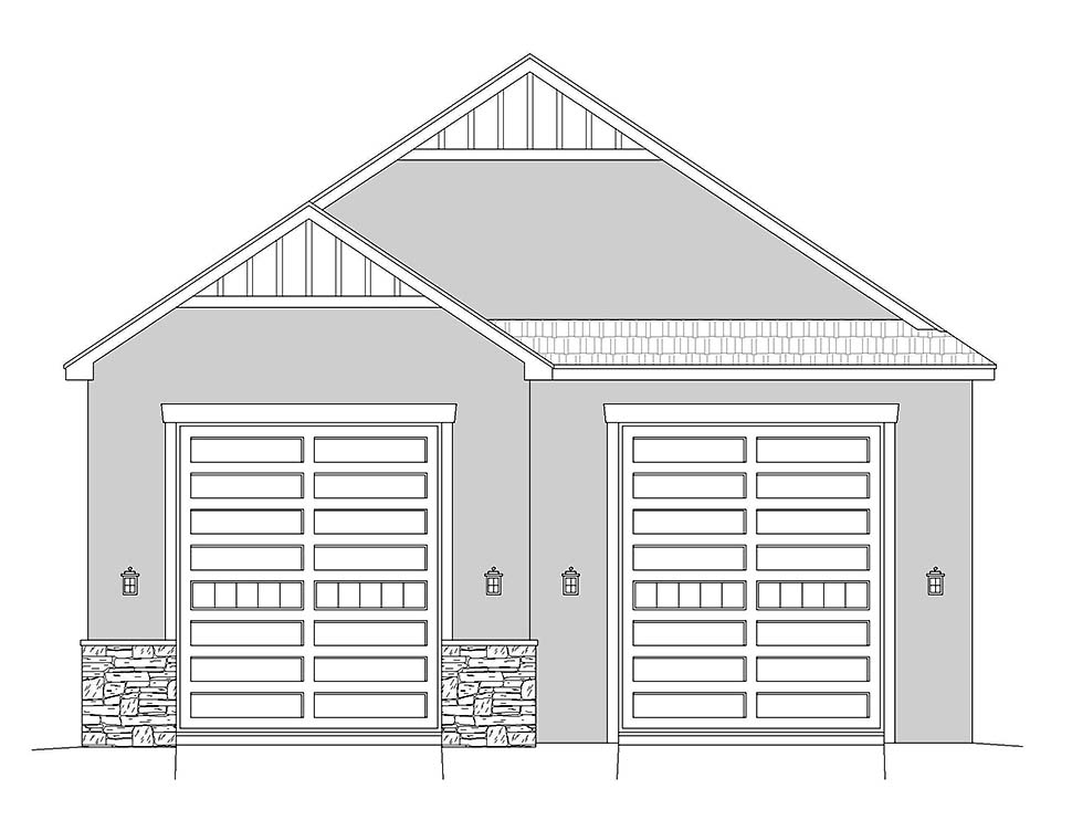 Country, European, French Country, Traditional 2 Car Garage Plan 40834, RV Storage Picture 3