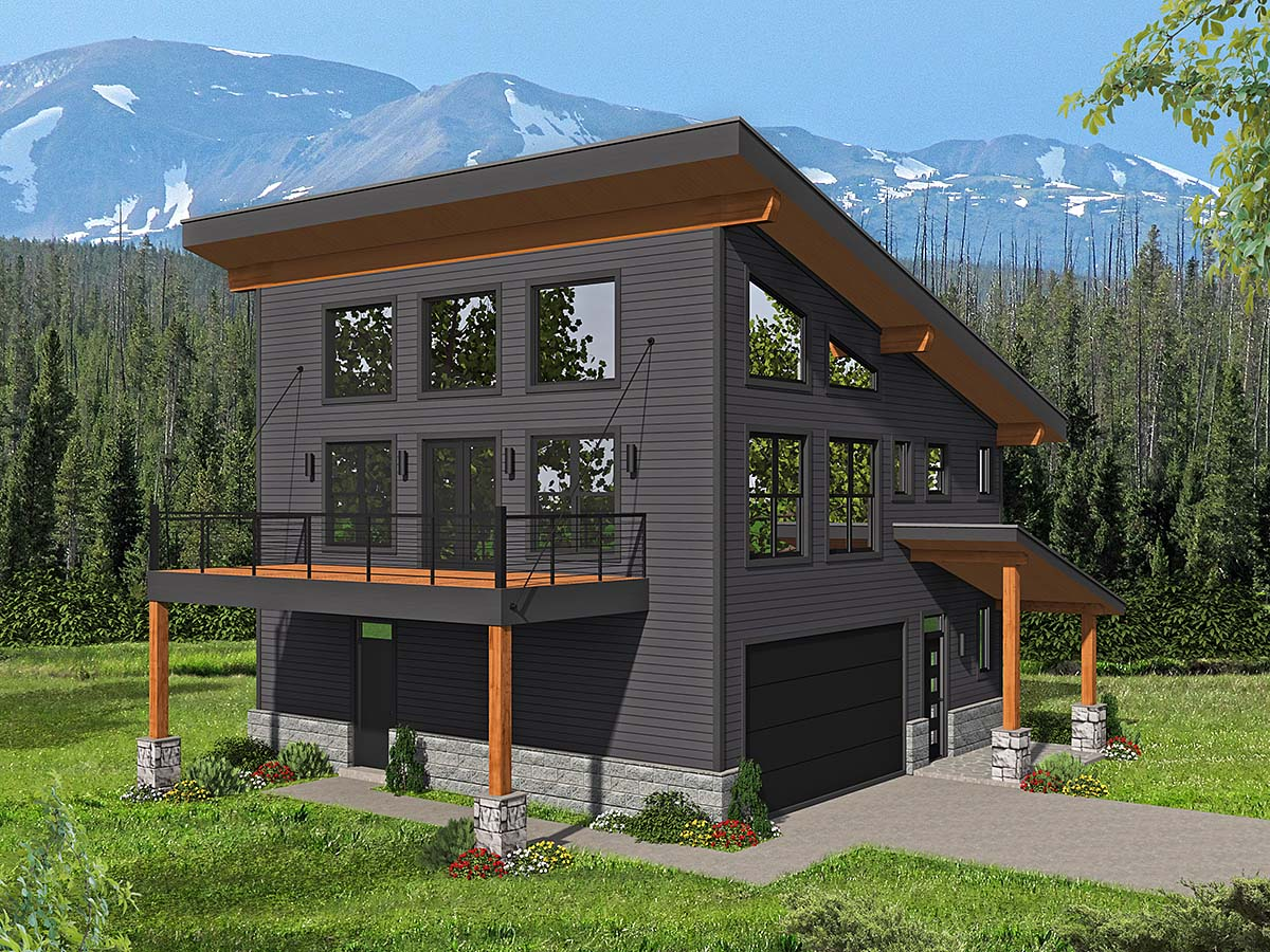 Contemporary, Modern House Plan 40837 with 2 Beds, 2 Baths, 2 Car Garage Front Elevation