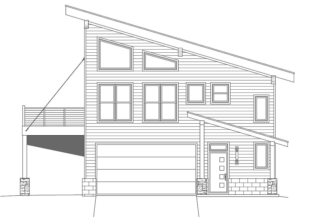 Contemporary, Modern House Plan 40837 with 2 Beds, 2 Baths, 2 Car Garage Picture 1