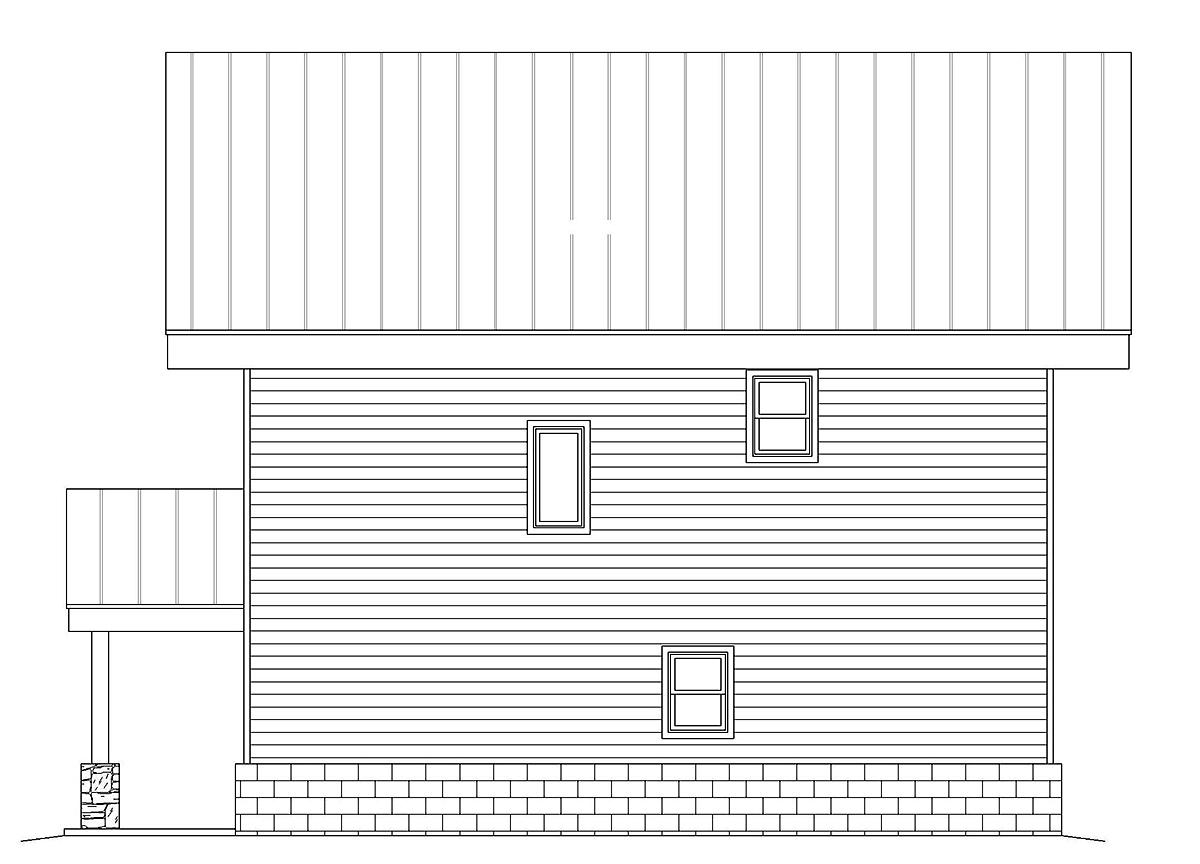 Contemporary, Modern Garage-Living Plan 40837 with 2 Beds, 2 Baths, 2 Car Garage Rear Elevation