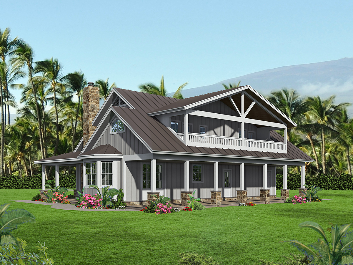 Bungalow, Cottage, Country House Plan 40847 with 3 Beds, 4 Baths Rear Elevation