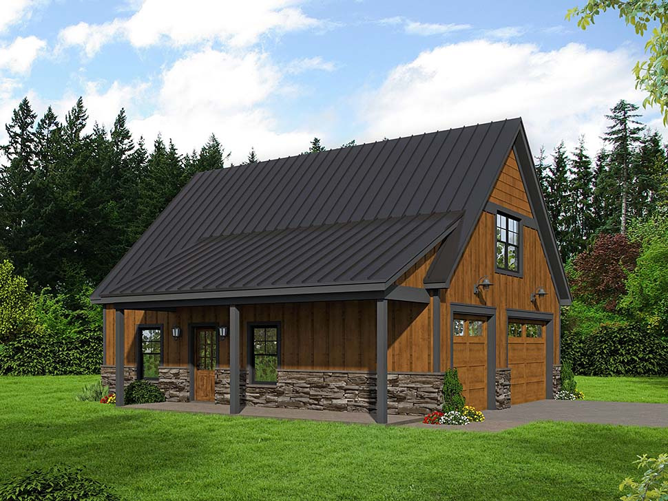 Country, Ranch House Plan 40852 with 1 Beds, 1 Baths, 2 Car Garage Picture 4