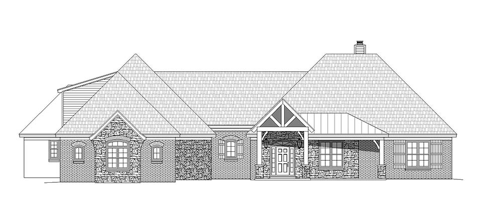 European, French Country, Ranch House Plan 40853 with 4 Beds, 4 Baths, 3 Car Garage Picture 3