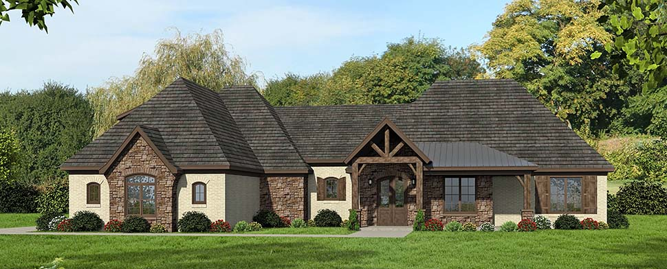 European, French Country, Ranch House Plan 40853 with 4 Beds, 4 Baths, 3 Car Garage Picture 4