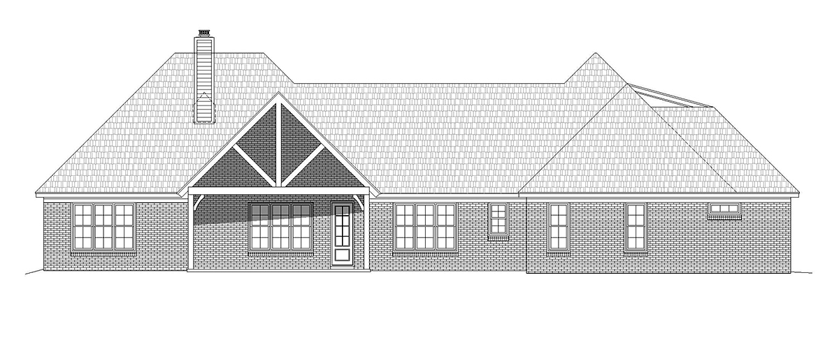 European, French Country, Ranch House Plan 40853 with 4 Beds, 4 Baths, 3 Car Garage Rear Elevation