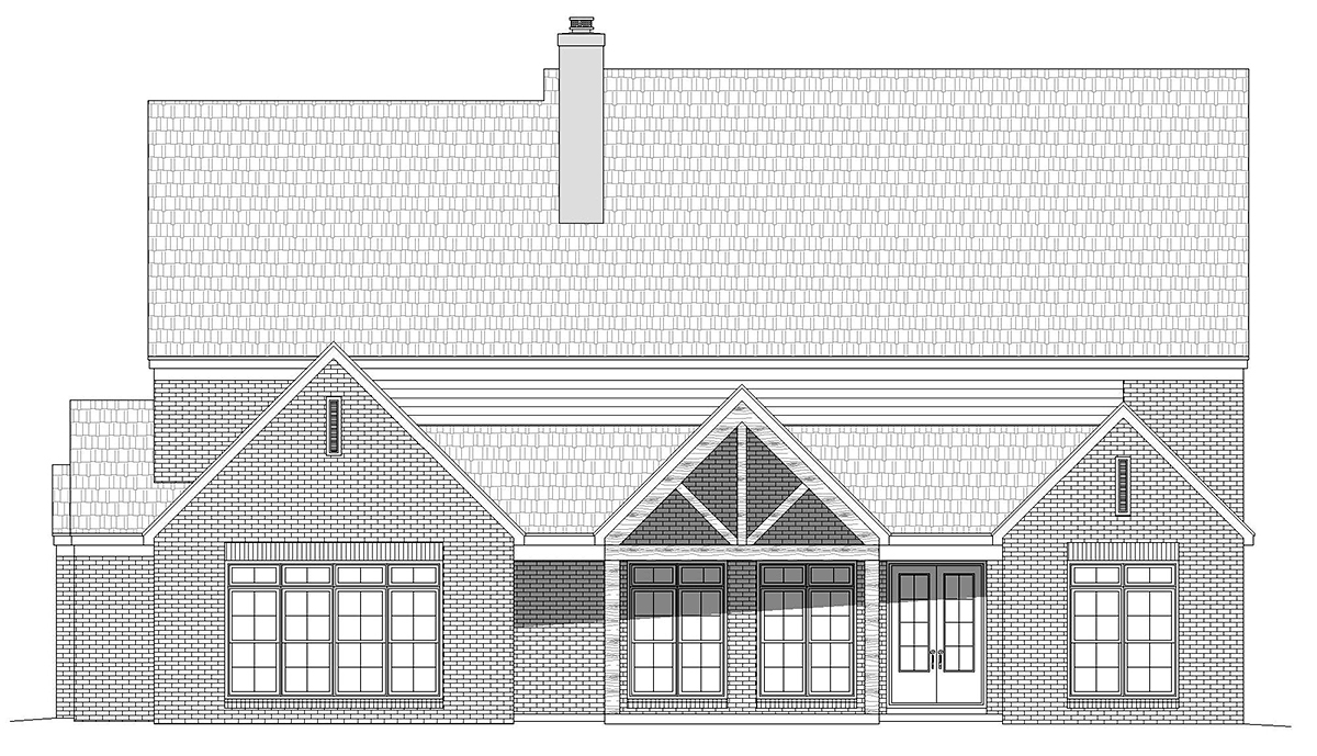 European, French Country, Traditional House Plan 40856 with 5 Beds, 5 Baths, 3 Car Garage Rear Elevation