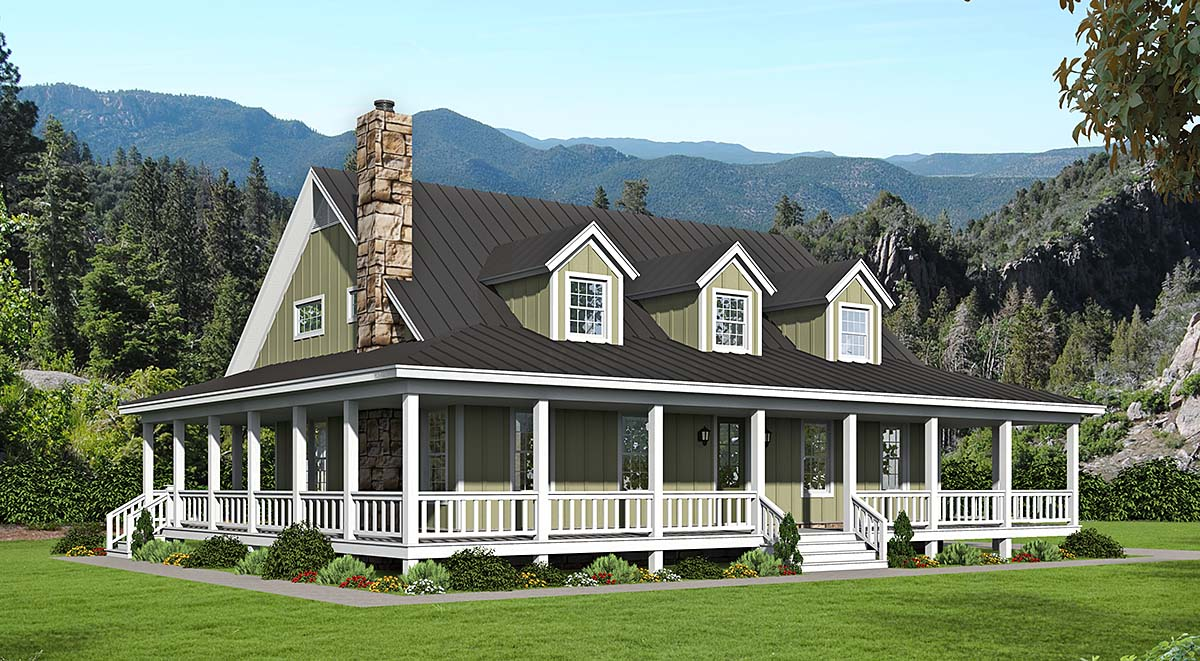 Country, Farmhouse, Traditional House Plan 40857 with 3 Beds, 4 Baths Elevation