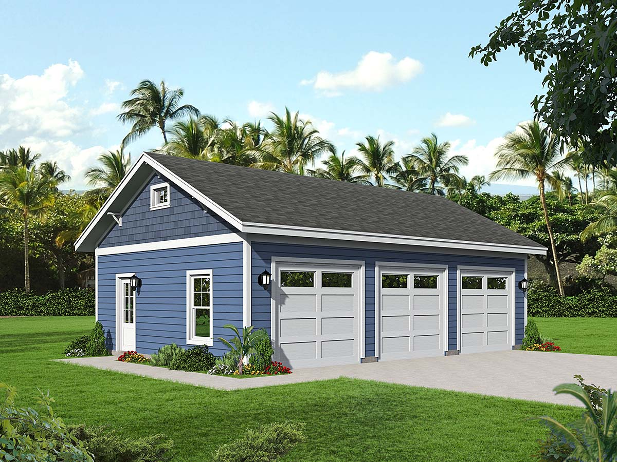 Country, Ranch, Traditional 3 Car Garage Plan 40858 Elevation