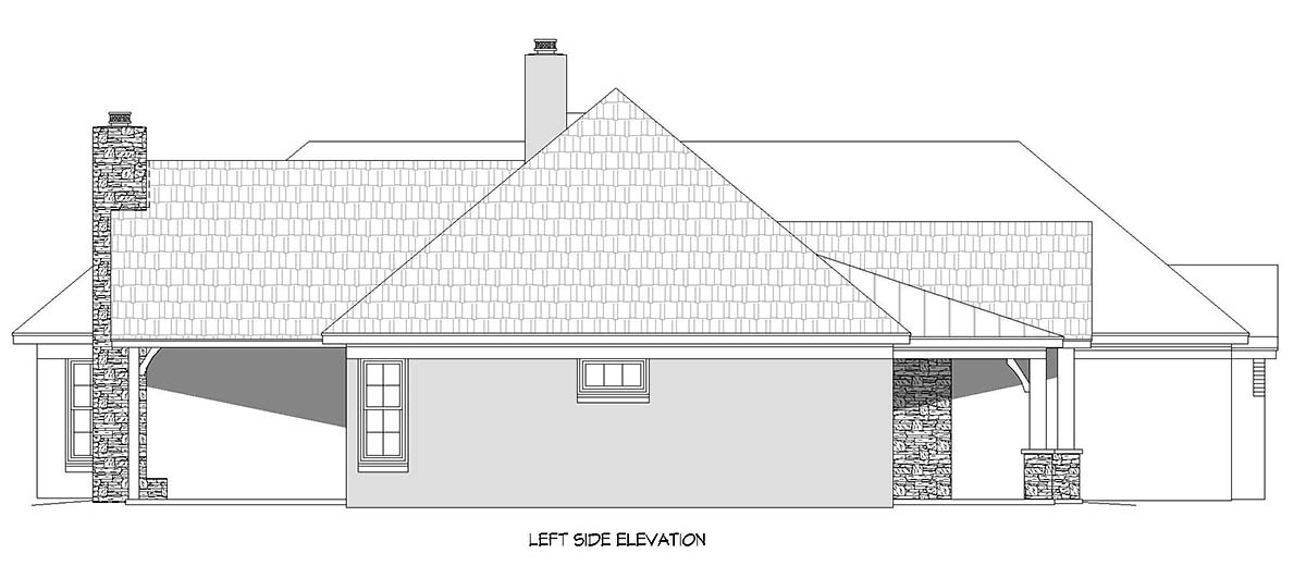 European, French Country, Ranch House Plan 40860 with 3 Beds, 4 Baths, 3 Car Garage Picture 2