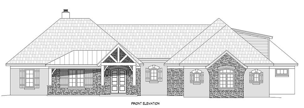 European, French Country, Ranch House Plan 40860 with 3 Beds, 4 Baths, 3 Car Garage Picture 3