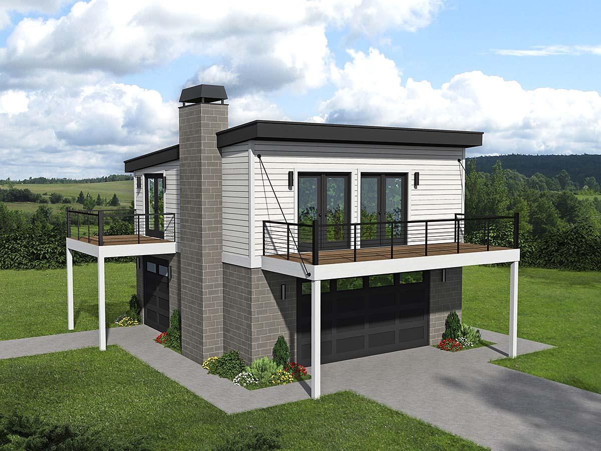 Coastal, Contemporary, Modern House Plan 40862 with 1 Beds, 1 Baths, 2 Car Garage Elevation