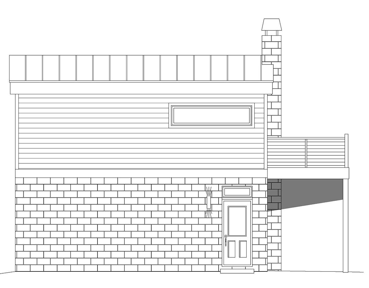 Coastal, Contemporary, Modern House Plan 40862 with 1 Beds, 1 Baths, 2 Car Garage Rear Elevation