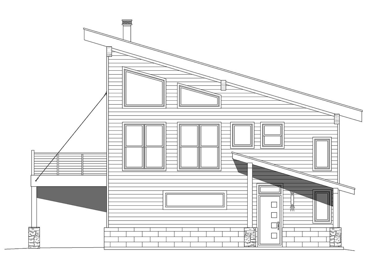 Coastal, Contemporary 2 Car Garage Apartment Plan 40863 with 2 Beds, 2 Baths Picture 1