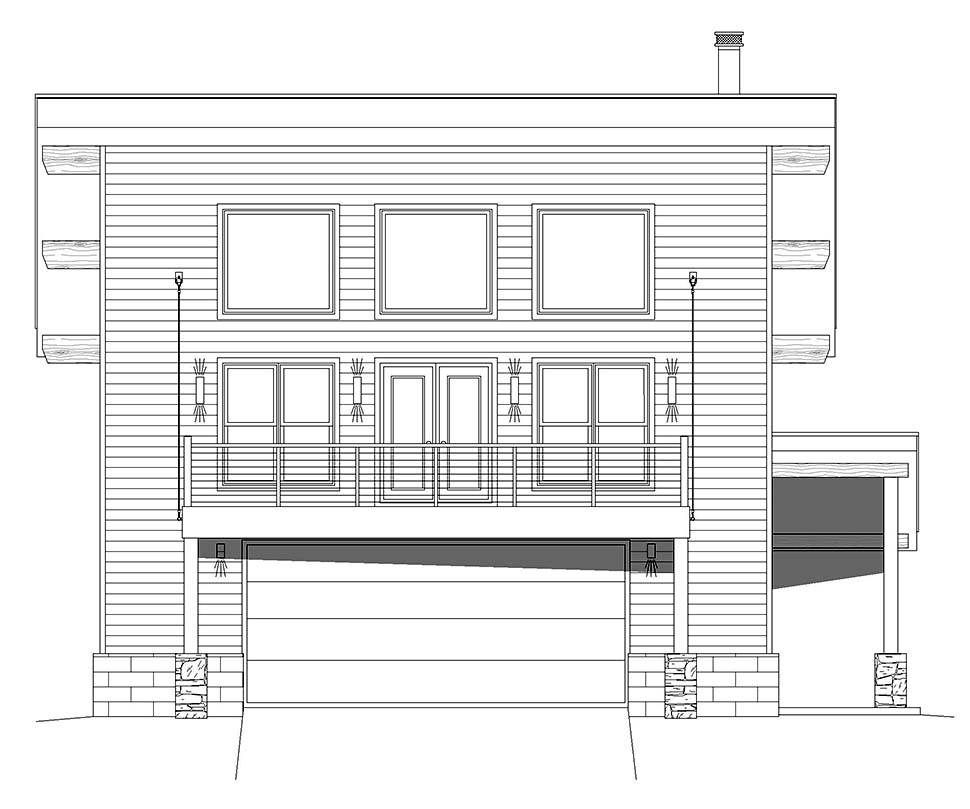 Coastal, Contemporary 2 Car Garage Apartment Plan 40863 with 2 Beds, 2 Baths Picture 3
