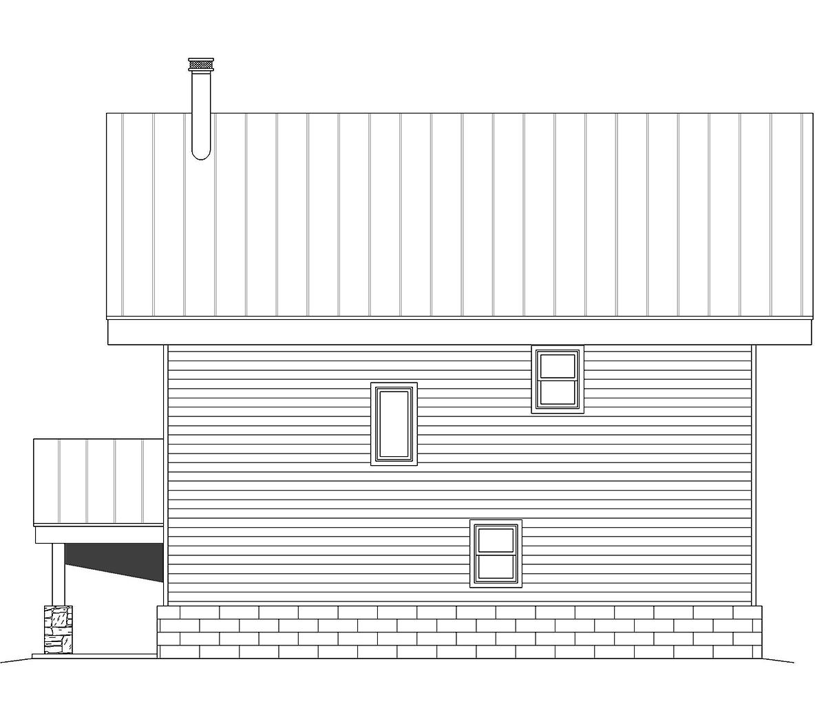 Coastal, Contemporary, Modern Garage-Living Plan 40863 with 2 Beds, 2 Baths, 2 Car Garage Rear Elevation