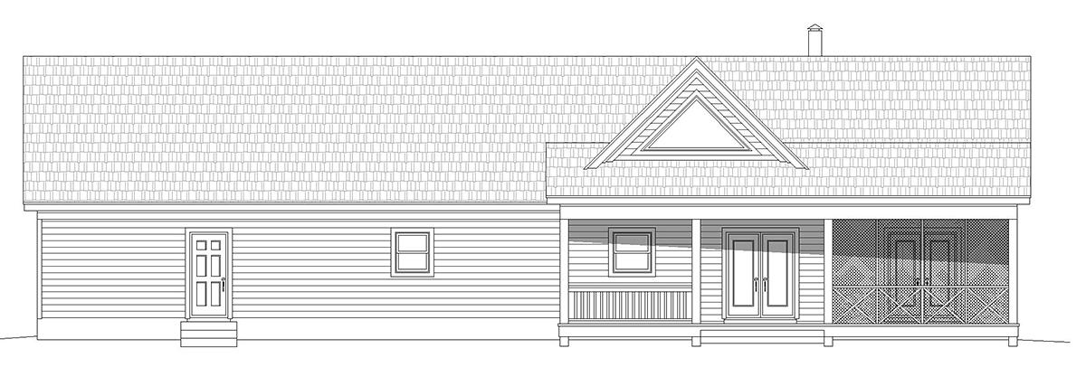Country, Farmhouse, Ranch House Plan 40864 with 2 Beds, 2 Baths Rear Elevation