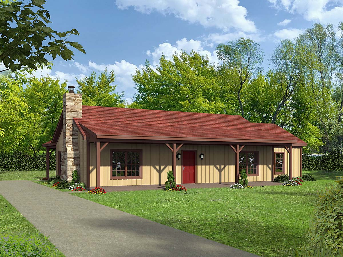 Country, Ranch, Traditional House Plan 40868 with 3 Beds, 2 Baths Elevation