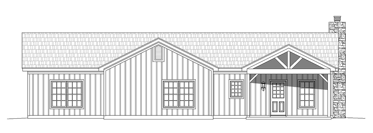 Country, Ranch, Traditional House Plan 40868 with 3 Beds, 2 Baths Rear Elevation