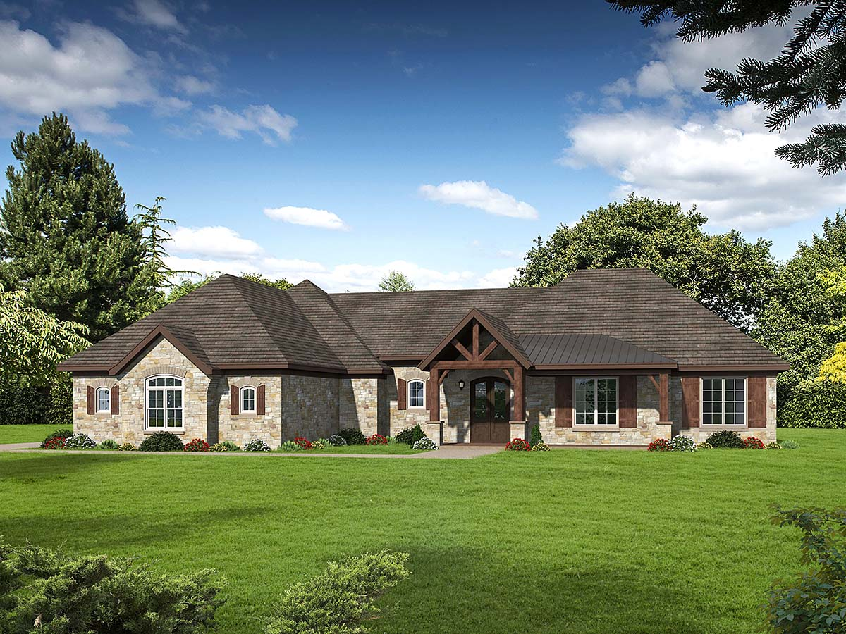 European, French Country, Ranch House Plan 40871 with 3 Beds, 3 Baths, 3 Car Garage Elevation