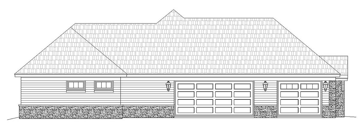 European, French Country, Ranch House Plan 40871 with 3 Beds, 3 Baths, 3 Car Garage Picture 2