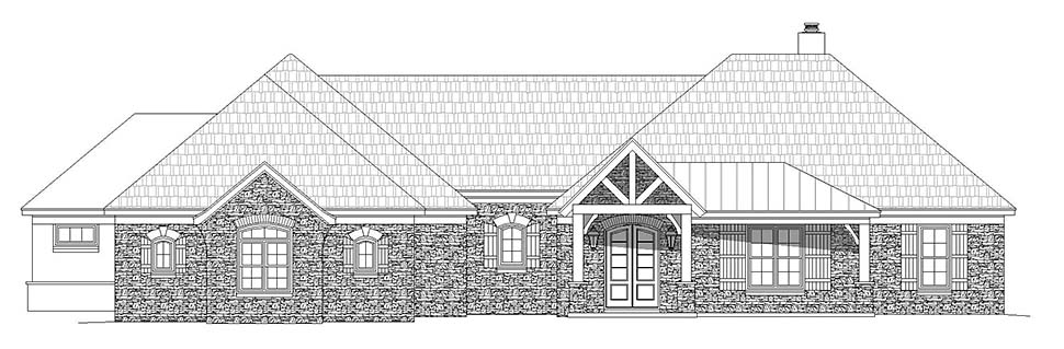 European, French Country, Ranch House Plan 40871 with 3 Beds, 3 Baths, 3 Car Garage Picture 3