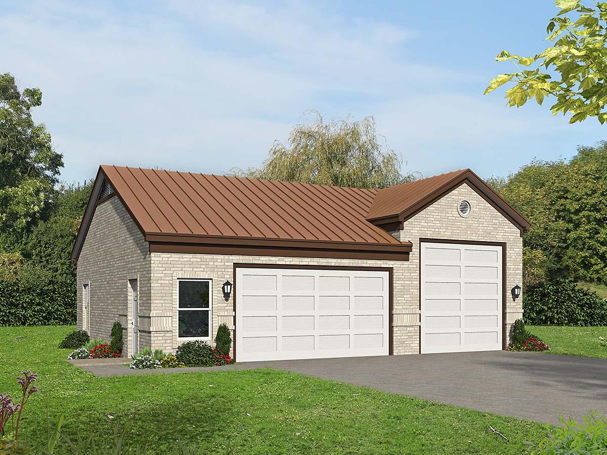 Traditional 2 Car Garage Plan 40875 Elevation