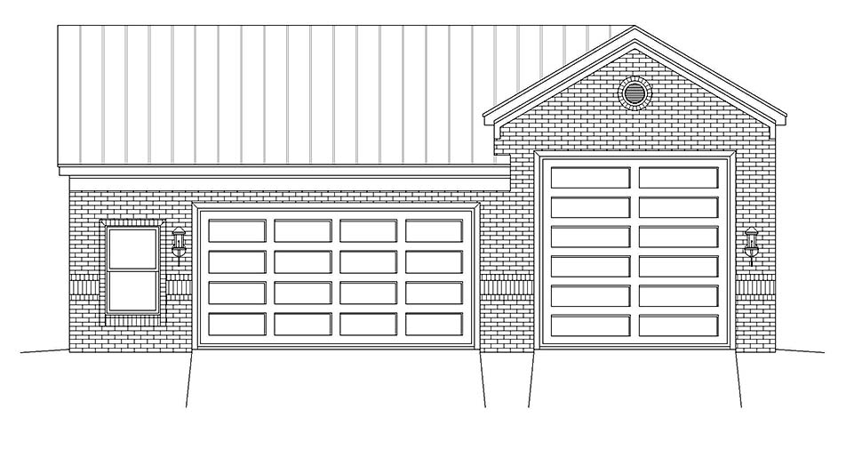 Traditional 2 Car Garage Plan 40875 Picture 3