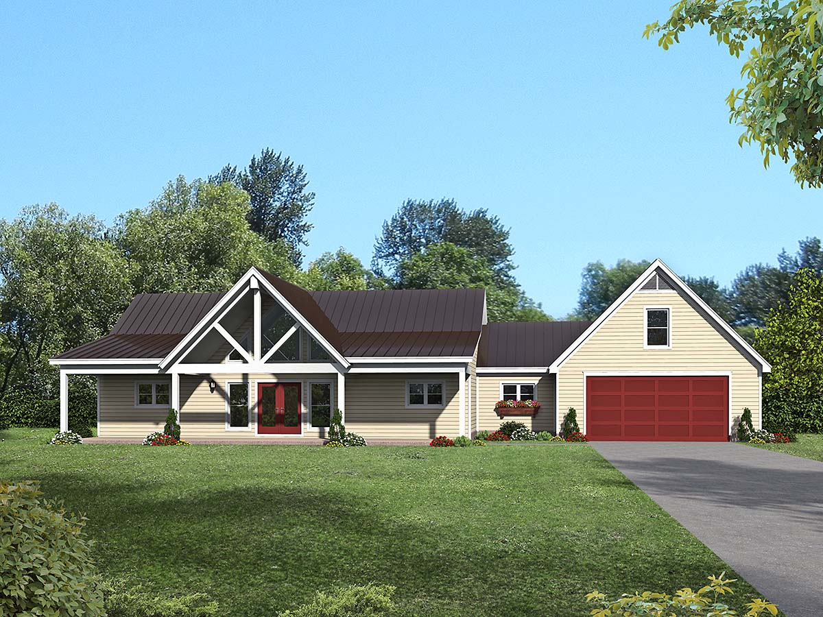 Country, Farmhouse, Traditional House Plan 40876 with 2 Beds, 2 Baths, 2 Car Garage Elevation