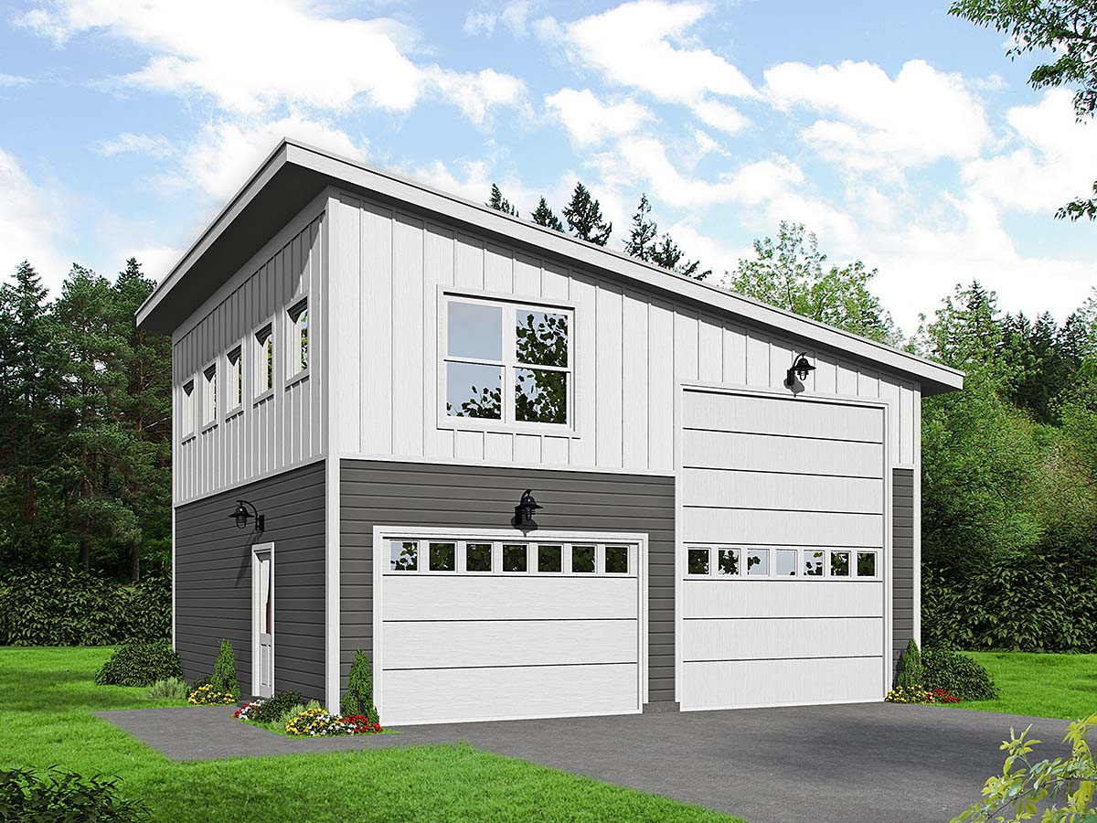 Contemporary, Modern 2 Car Garage Plan 40878, RV Storage Elevation