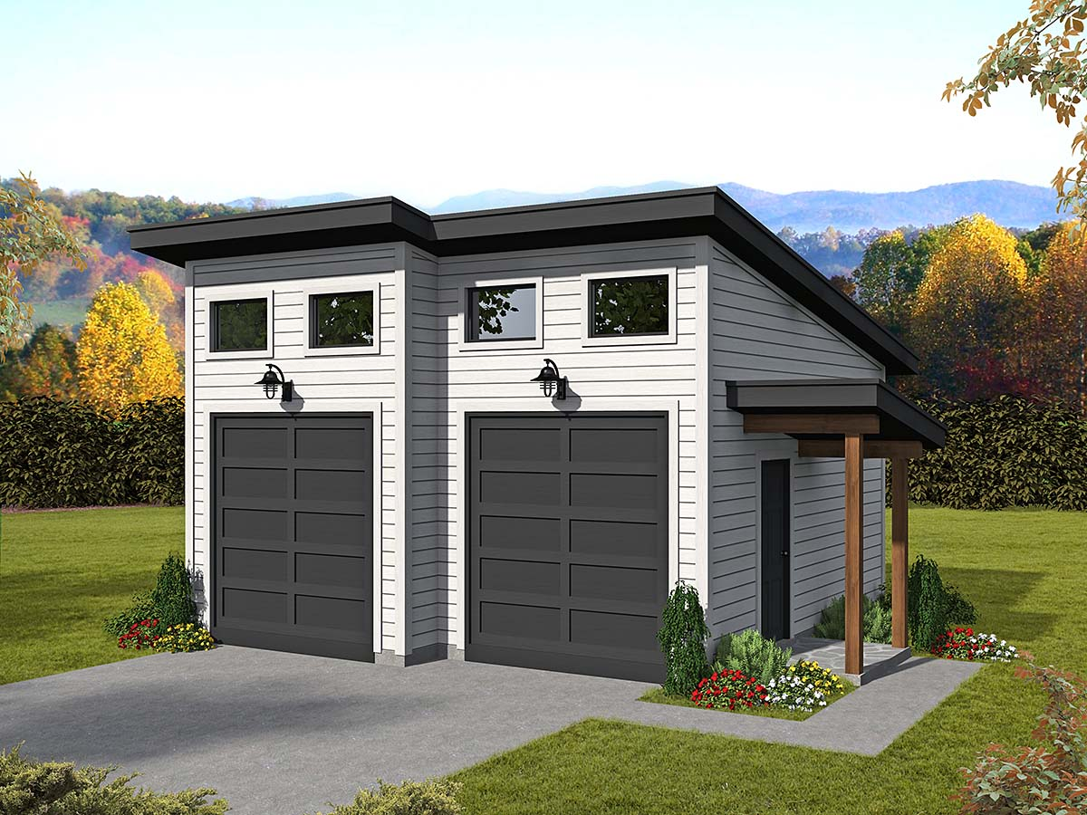 Contemporary, Modern 2 Car Garage Plan 40880 Elevation